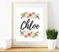 Chloe Name Sign Chloe Name Print Baby Girl Floral Name Print Name Print Floral Design Chloe Nam Nursery Monogram, Nursery Letters, Nursery Name, Baby Chloe, Grilling Gifts, Baby Girl Names, Letter Wall, Baby Prints, Name Signs