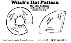 Witch Hat Sewing Pattern | Miniature Doll Witches Hat Tutorial by Gina Bellous - Page 2 Moldes Halloween, Halloween Quilts, Halloween Crafts, Halloween Decorations, Halloween Witches, Halloween Stuff, Halloween Halloween, Vintage Halloween, Hat Patterns To Sew