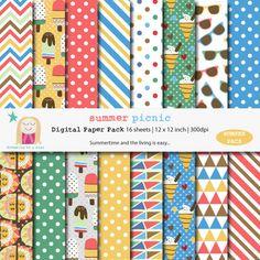 SALE Buy 3 Get 1 FREE. Summer Scrapbook Digital Paper by DreamingOnAStar, $5.00