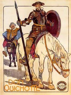 """Op zijn trektocht wordt Don Quichot vergezeld door zijn buurman en dienaar Sancho Panza. Sancho is een kleine boer, analfabeet maar niet dom, met veel en lekker eten en drinken als zijn belangrijkste interesses. Sancho weet dat z'n meester niet helemaal goed bij z'n hoofd is, Sancho betitelt hem als """"Ridder van de droevige figuur"""", maar toch volgt hij hem, want zijn zwakheid voor de aardse geneugten maakt dat hij gelooft in de grote beloning die Don Quichot hem in het vooruitzicht stelt."""