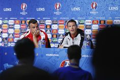 Captain, Stephan Lichtsteiner (R) of Switzerland talks to the media as Xherdan Shaqiri listens during the Switzerland Press Conference at the Stade Bollaert-Delelis on June 10, 2016 in Lens, France. (Photo by Handout/UEFA via Getty Images)..Picture credit: UEFA (Handout photo provided by UEFA. Only editorial use relating to the event described is permitted. Photo may be distributed to third parties to use for the same purpose provided that no charge is made).