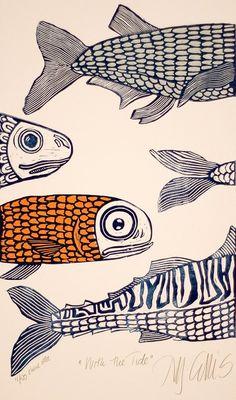 Ouvrages D'art, Fish Art, Fish Fish, Sea Fish, Gravure, Mail Art, Blue And White, Navy Blue, Art Inspo