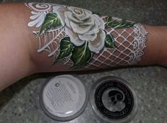 White rose with lace face paint design