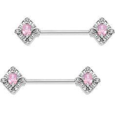 "9/16"" Clear Pink Gem Rococo Rhombus Barbell Nipple Ring Set"