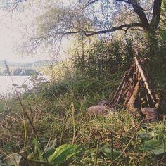 Campfire, river danube, camping
