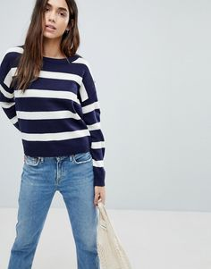 Brave Soul Bioata Wide Stripe Sweater - Navy
