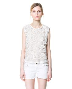 Image 1 of SHORT GUIPURE LACE TOP from Zara