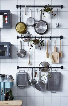 Rails are one of our kitchen storage favourites. They're especially good for big storage users like pots and pans and mean that everything is always findable and easy to grab too.