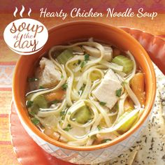 Hearty Chicken Noodle Soup Recipe from Taste of Home -- shared by Norma Reynolds of Overland Park, Kansas  #sicilian-recipes  #sicilia #sicily   #italian-food