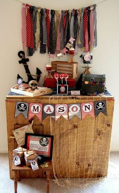 Pirate Party: Arghh you ready for a Buccaneer Bash? Today, I'm sharing this super fun Pirate Party. Check out all our pirate posts if you are looking for more Pirate Party ideas and inspiration! Pirate Party Decorations, Pirate Decor, Pirate Theme, Birthday Decorations, Birthday Party Desserts, 4th Birthday Parties, Pirate Birthday Cake, Birthday Ideas, Kid Crafts