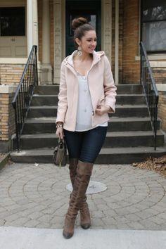 Light Pink Coat, OTK Boots & Sparkles