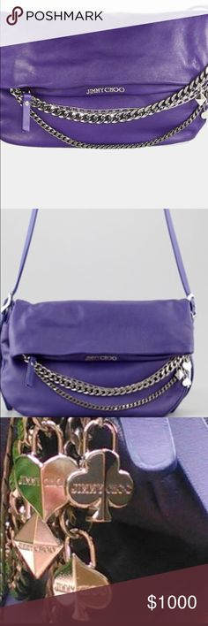 """Jimmy CHOO MAKE ANY OFFER!Chain Purple Biker Bag❤️ MAKE ME AN OFFER!! ANY OFFER!! ...Authentic, Jimmy CHOO small chain purple biker bag , 8"""" H by 13"""" comes W with original hologram card ! STUNNING!! In excellent/ pristine condition!! ❤ Will sell for even less on Mercarii, just ask  THE PERFECT COLOR BAG FOR SPRING!!  Jimmy Choo Bags Shoulder Bags"""