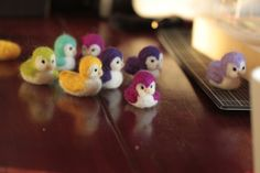 Needle felted felting felt woolfelt little birds ducks birbs by Aure-En