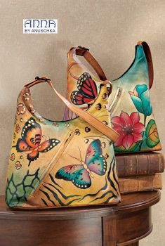 ANNA by Anuschka Handpainted Leather Hobo Handbag - Handbags & Belts - Fashion Accessories - As We Change