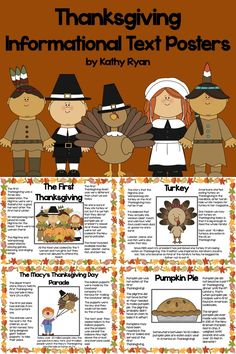 Looking for interesting informational texts for your students? Try these 12 Thanksgiving-themed informational text posters. Topics include: The Mayflower, Pilgrims, The Wampanoag, Squanto, The First Thanksgiving, Sarah Hale, Cornucopia, Turkey, Pumpkin Pie, Corn, Football, and the Macy's Thanksgiving Day Parade. Venn Diagram and reading scavenger hunt are included.