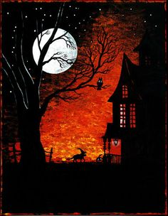 11X14 HALLOWEEN print of PAINTING RYTA WITCH BLACK CAT MOON FOLK ART WHIMSICAL