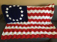 Betsy Ross Crochet Flag Blanket American Flag by KnotsUnravelled
