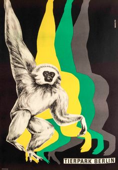 Poster by Axel Bengs 1970, Gibbon, Tierpark, Berlin.