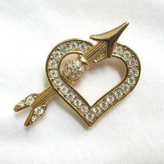 Vintage Clear Rhinestones Heart and Arrow Brooch by BillsVintageVault, $18.00