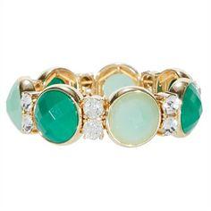 Anne Klein Stretch Bracelet with Crystals   from Von Maur #VonMaur #StyleCorner #Green #Jewelry #SpringJewelry