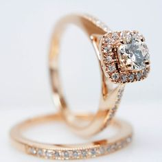 This 14k rose gold diamond engagement ring and wedding band set: | 43 Stunning Rose Gold Engagement Rings That Will Leave You Speechless