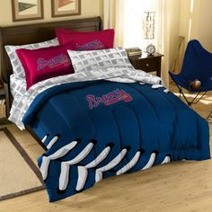 Bedroom Sets Atlanta atlanta braves denim comforter & sheet set combo | major league