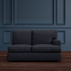 Jackson Loveseat Sectional, Right, Down Blend, Mohair, Navy