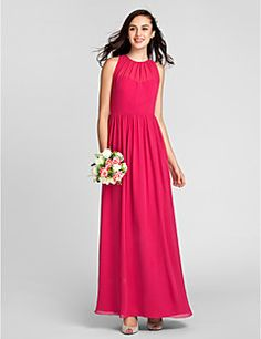 3fe72454373   89.99  Sheath   Column Jewel Neck Floor Length Chiffon Bridesmaid Dress  with Draping by LAN TING BRIDE®