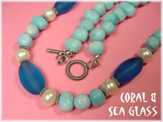 Aqua Blue Sea Glass & Blue Branch Coral Sterling Silver Necklace - ONLY 2 - FREE SHIPPING IN USA