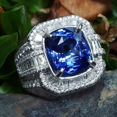 4.89ct blue sapphire from sri lanka in gold diamond microset ring design
