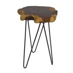 • Wooden tabletop with a natural finish<br>• Rustic hairpin legs<br>• Sturdy construction<br><br>Threshold's Wood Accent Table with Hairpin Legs combines natural forms with modern design for a striking look. The end table adds a unique touch tucked next to a sofa or armchair.