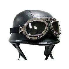 Morning May WWII Style BLACK German Motorcycle Half Helmet Chopper Biker Pilot Goggles NEW