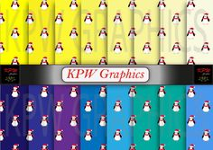 Set of 16 Christmas Penguins with Yellow and Blue by KPWgraphics
