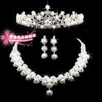 A008 Crown Tiara Pearls Silver Plated Crystal Choker Necklace earrings Jewelry Set For Wedding Evening Party B28