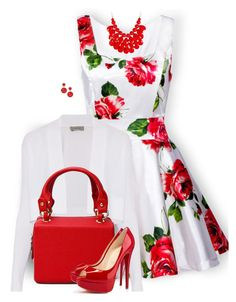 """Floral Dress"" by daiscat ❤ liked on Polyvore featuring Sportmax, Christian Louboutin and INC International Concepts"