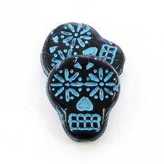 Czech Glass Beads Sugar Skull Beads Jet Black by SolanaKaiBeads