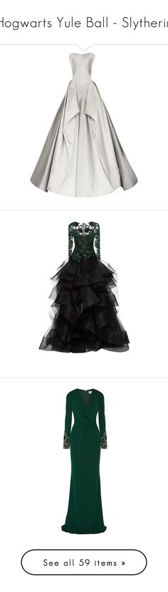 """Hogwarts Yule Ball - Slytherin"" by neeeea ❤ liked on Polyvore featuring dresses, gowns, long dresses, zac posen, vestidos, white evening dresses, zac posen gowns, white strapless dress, long strapless dresses and strapless sweetheart dress"