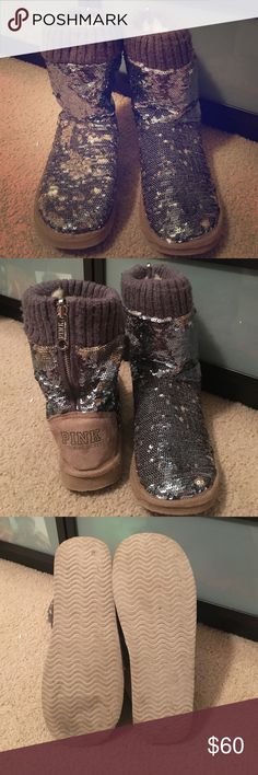Victoria secret pink UGGs boots Too small for me Victoria secret pink UGGs boots with sequins all over them and fur on the inside! Bought here on Poshmark GREAT condition. They were just a little too small for me. They are a size 7-8 ❤️ PINK Victoria's Secret Shoes Ankle Boots & Booties