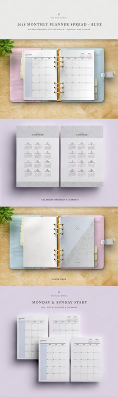 2018 Monthly Planner Spread - A5 & Personal Size, Blue (For Kikki K, Filofax, Lovedoki) w/ 2018 Calendar, Cover Page. Printable Planner