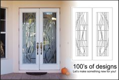 Double doors with etched design that is very modern. http://glassdoorstampa.com/etched-or-sandblasted-glass-doors/