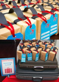 Could wrap any box w brown paper to make dif size luggage as decor AIRPLANE BIRTHDAY IDEAS