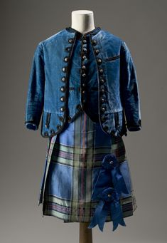Kilt from a boy's kilt suit, of blue tartan silk which may be French: British, c. 1860 - 1870