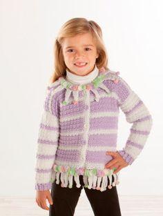 Girls crochet sweater, free pattern from Michaels.