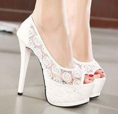 zapatos de novia blancos y bonitos