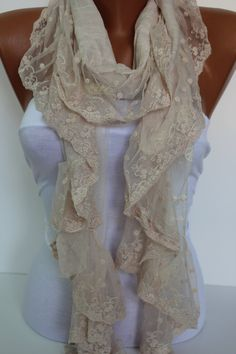 Cream Shawl/Scarf  with Lace. $19.90, via Etsy.  I just bought one. Can't wait to get it!
