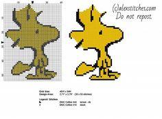 Woodstock Peanuts character free cross stitch pattern