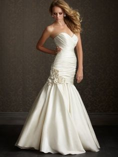 Fit & Flare Sweetheart Dropped Waist Flowers Taffeta Wedding Dress-wf0006, $249.95