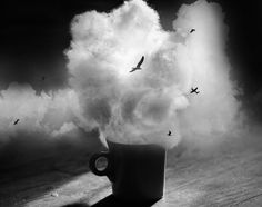 8x10 Black and white surreal photograph, clouds, mug, flying birds, plane - Dreaming in Black and White on Etsy, $20.00