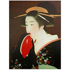@Overstock - This wall art is a colorful reproduction an unattributed Japanese wood block of a 19th century Geisha, queen of the 'floating world', the Ukiyo. The canvas print will make a lovely decorative addition to any room in your home.