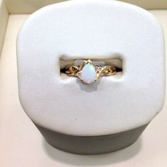 Opal ring set in yellow gold #jewelry #ring #opal #October